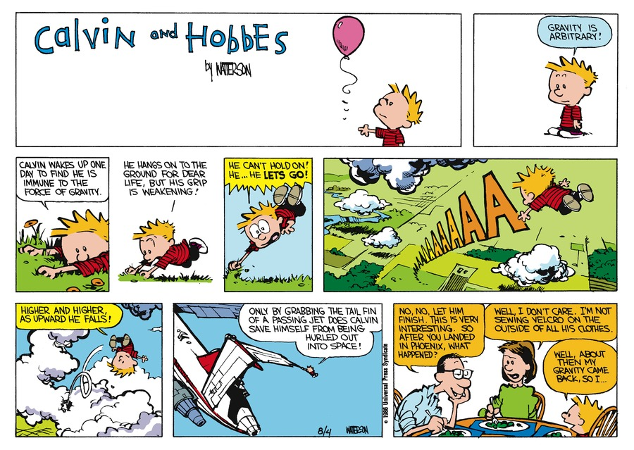 Calvin and Hobbes Comic Strip for August 31, 1986