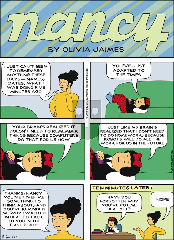 Nancy on Sunday September 22, 2019 Comic Strip