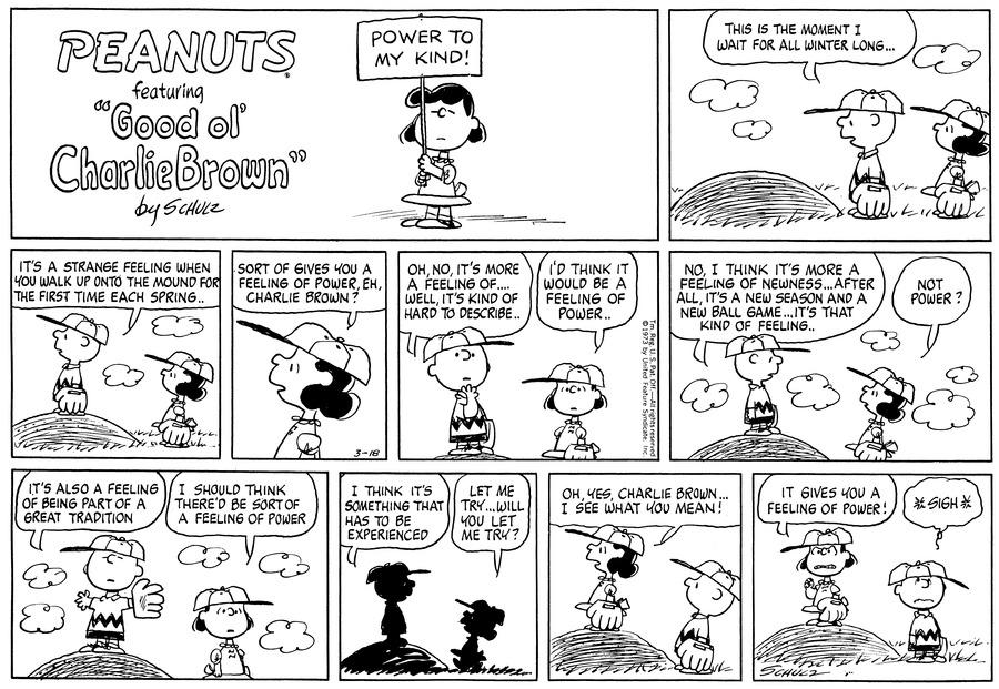 Peanuts Comic Strip for March 18, 1973