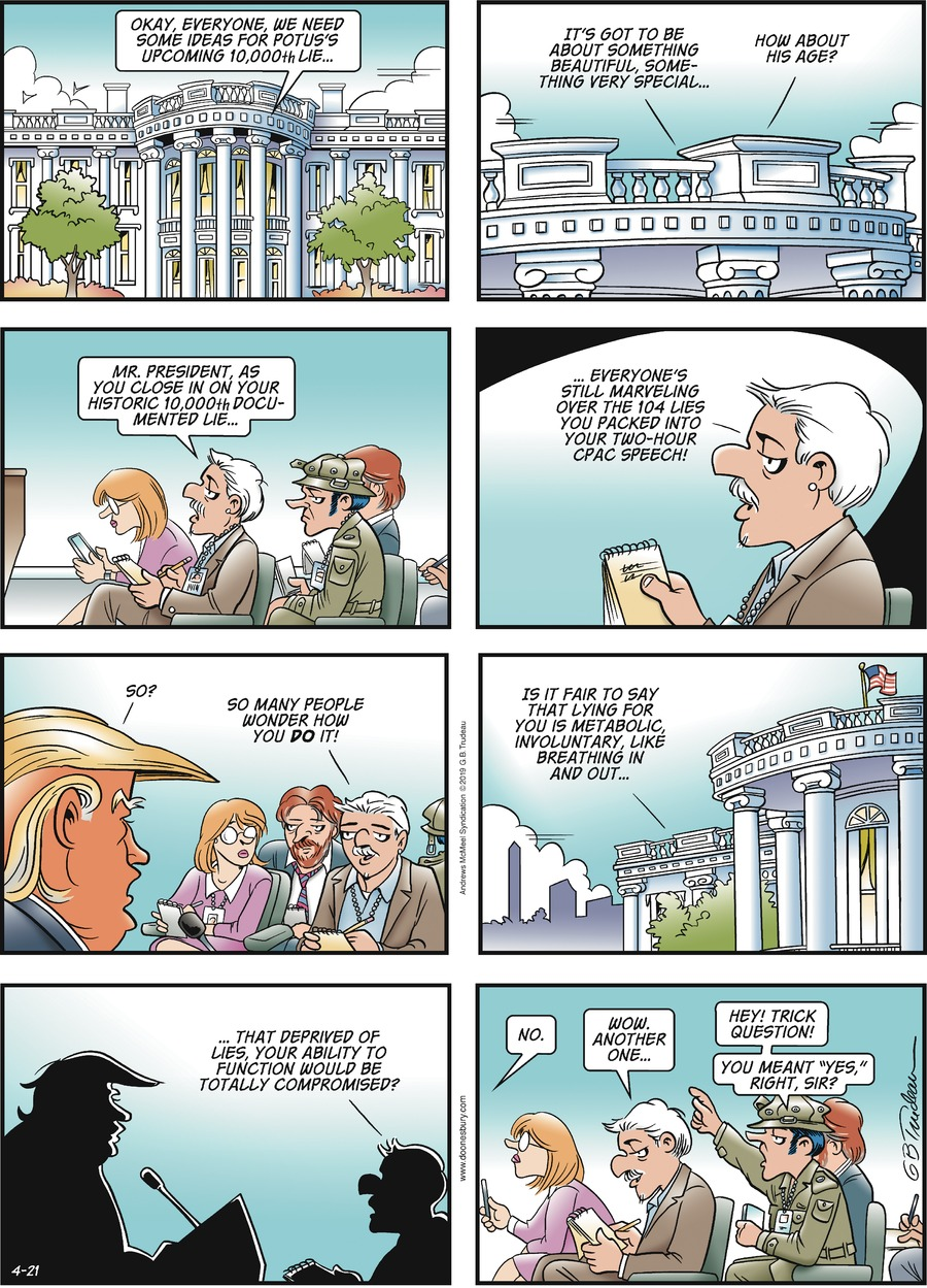 Doonesbury Comic Strip for April 21, 2019