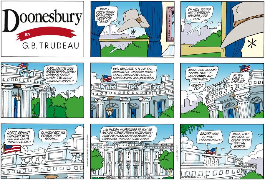 Doonesbury Comic Strip for September 02, 2001