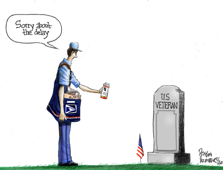 U. S. postal carrier holding out a bottle of prescription medicine towards the grave of a veteran while saying,