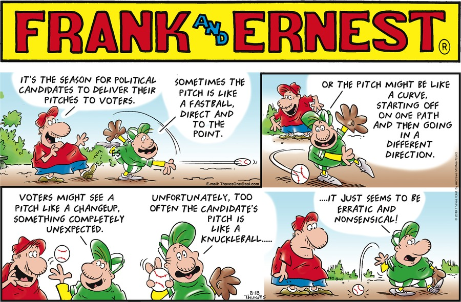 Frank and Ernest Comic Strip for August 18, 2019