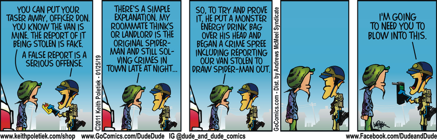 Dude and Dude Comic Strip for January 25, 2019