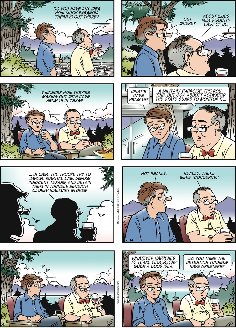 Doonesbury Comic Strip for June 14, 2015