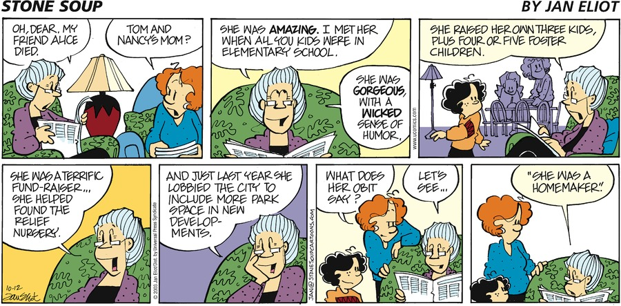 Stone Soup Comic Strip for October 12, 2003