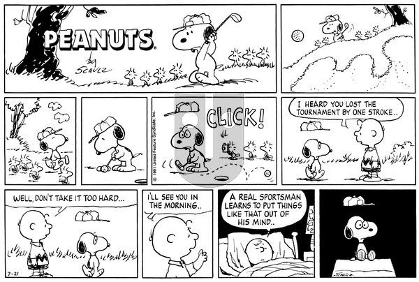 Peanuts on Sunday July 21, 1991 Comic Strip
