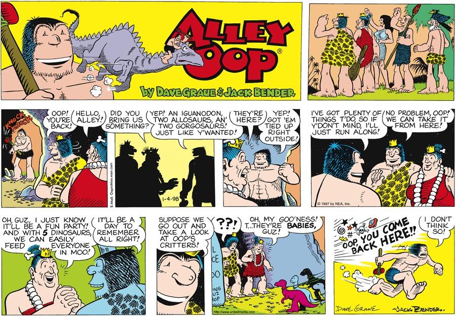 Alley Oop for Jan 4, 1998 Comic Strip