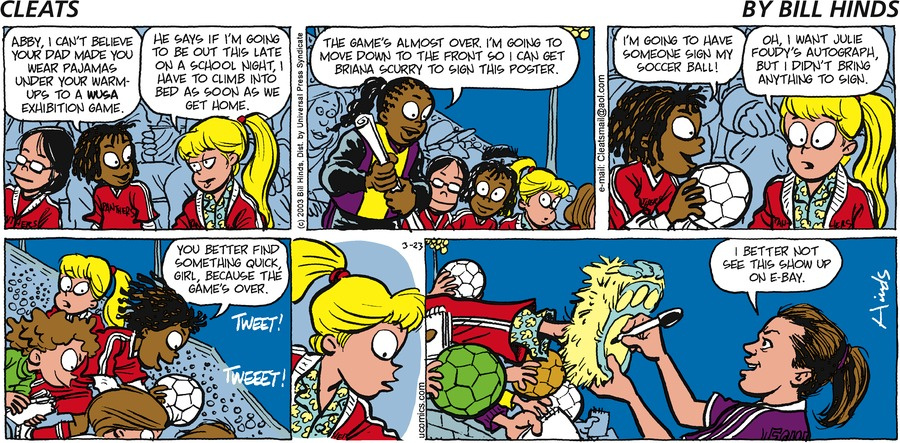 Cleats Comic Strip for March 23, 2003