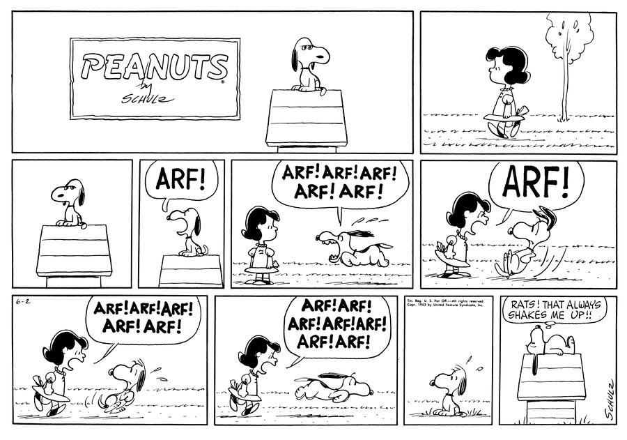 Peanuts Comic Strip for June 02, 1963