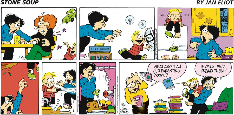 Wally: What about all our parenting books? Joan: If only he'd read them!