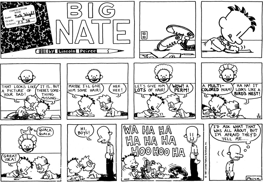Big Nate Comic Strip for February 24, 1991