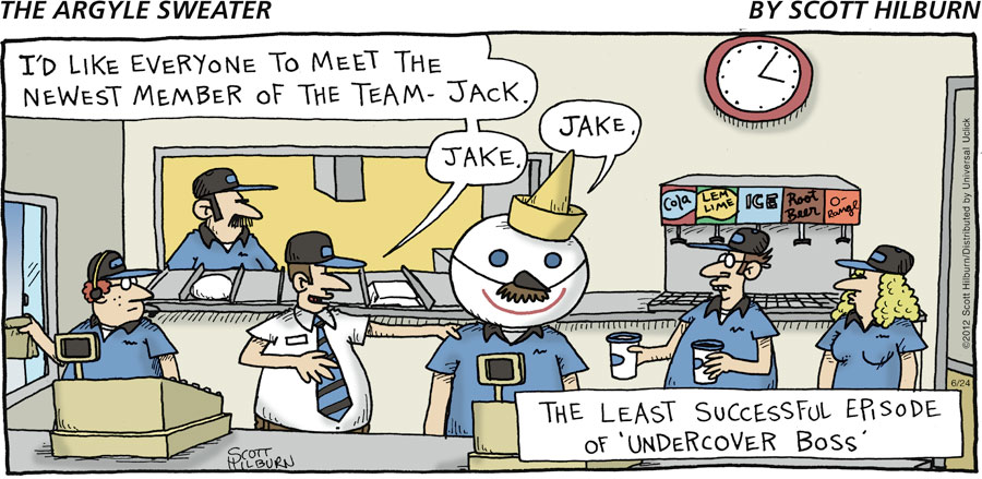 "Man: I'd like everyone to meet the newest member of the team - Jack. Man: Jake. Man: Jake. The least successful episode of ""Undercover Boss."""