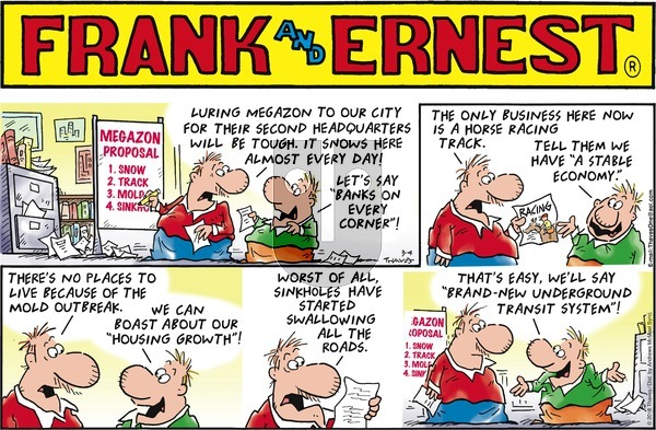 Frank and Ernest on Sunday March 4, 2018 Comic Strip