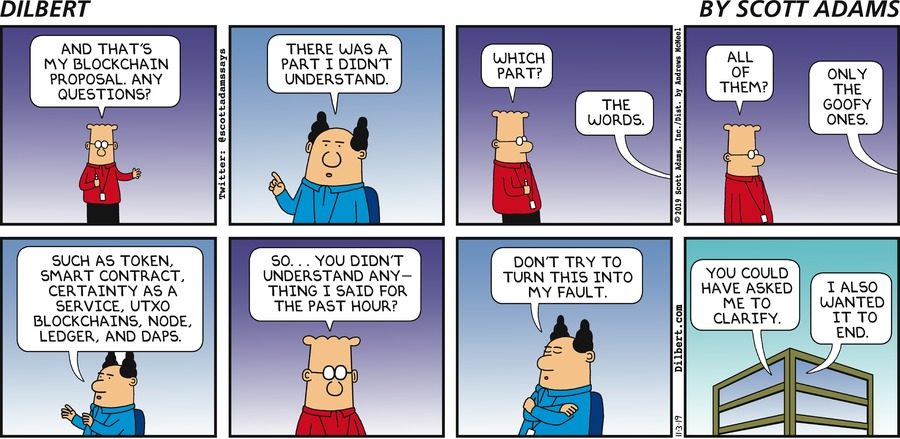 Dilbert on blockchain