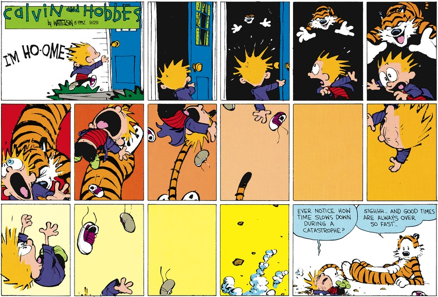 Calvin: Ever notice how time slows down during a catastrophe? Hobbes: Sighhh...and good times are always over so fast.
