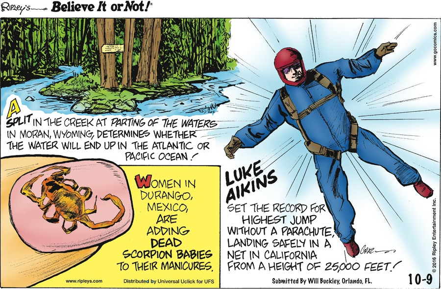 Ripley's Believe It or Not Comic Strip for October 09, 2016