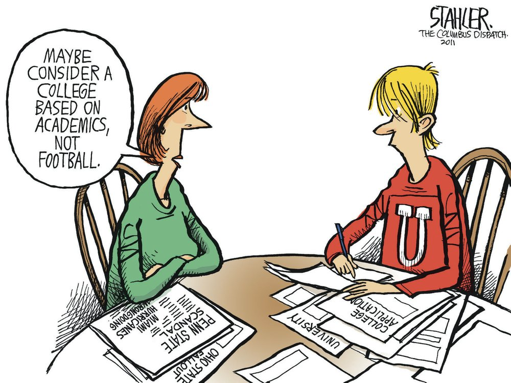 Woman: Maybe consider a college based on academics, not football.