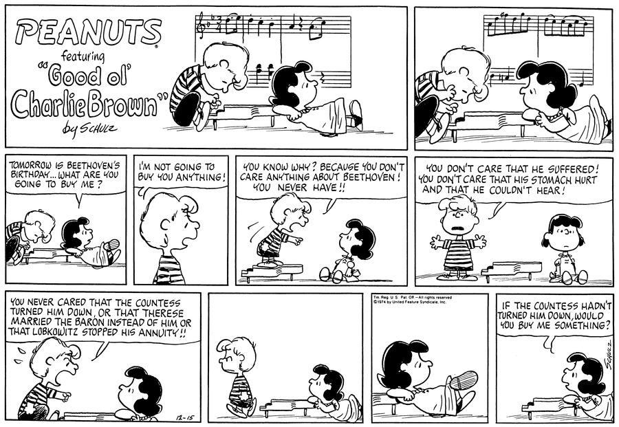 Peanuts Comic Strip for December 15, 1974