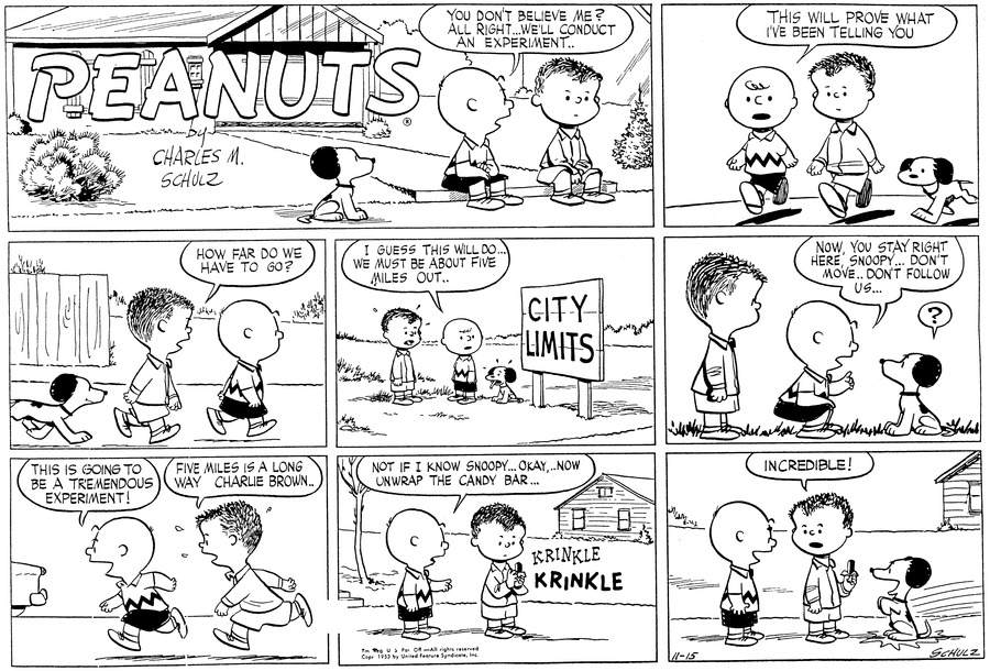 """Shermy and Charlie Brown are sitting on the step in front of a house with Snoopy sitting on the sidewalk. Charlie Brown is saying to Shermy,"""" YOU DON'T BELIEVE ME? ALL RIGHT... WE'LL CONDUCT AN EXPERIMENT.."""" (BR)BR) Charlie Brown, Shermy and Snoopy are now walking on the sidewalk and Charlie Brown is saying,""""THIS WILL PROVE WHAT I'VE BEEN TELLING YOU"""" (BR) (BR) The three are still walking and Shermy asks Charlie Brown """"HOW FAR DO WE HAVE TO GO? (BR) (BR) Out of breath they stop at the City Limits sign in a field when Charlie Brown says """"I GUESS THIS WILL DO... WE MUST BE ABOUT FIVE MILES OUT...""""  (BR) (BR) Charlie Brown kneels down and tells Snoopy """"NOW, YOU STAY RIGHT HERE, SNOOPY... DON'T MOVE.. DON'T FOLLOW US... (BR) (BR) Charlie Brown is telling Shermy as they are running back to the house. """" THIS IS GOING TO BE A TREMENDOUS EXPERIMENT!""""  Shermy replies""""FIVE MILES IS A LONG WAY, CHARLIE BROWN..""""  (BR) (BR) They have stopped in front of a house and Charlie Brown is telling Shermy, """" NOT IF I KNOW SNOOPY... NOW, UNWRAP THE CANDY BAR...  (BR) (BR)  Charlie Brown has a big smile on his face and Shermy is holding the candy bar with Snoopy sitting up in front of him begging. Shermy says ' INCREDIBLE!  (BR) (BR)"""