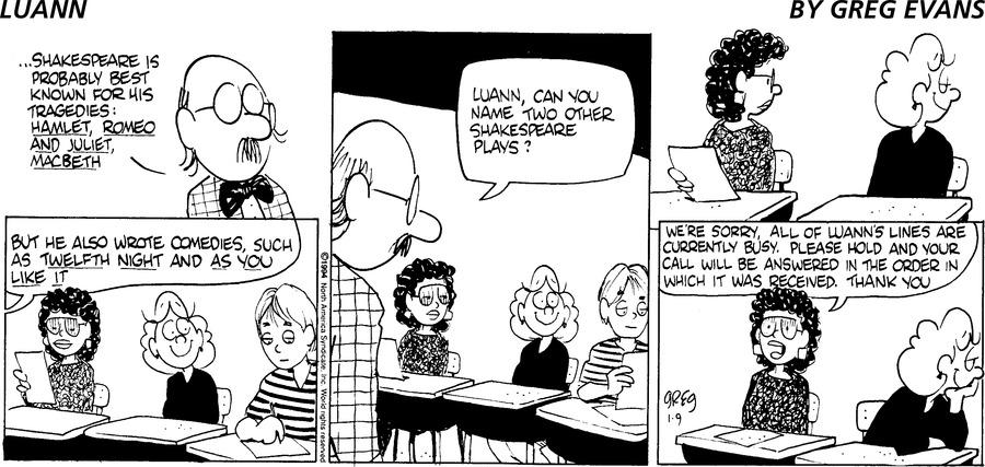 Luann Comic Strip for January 09, 1994