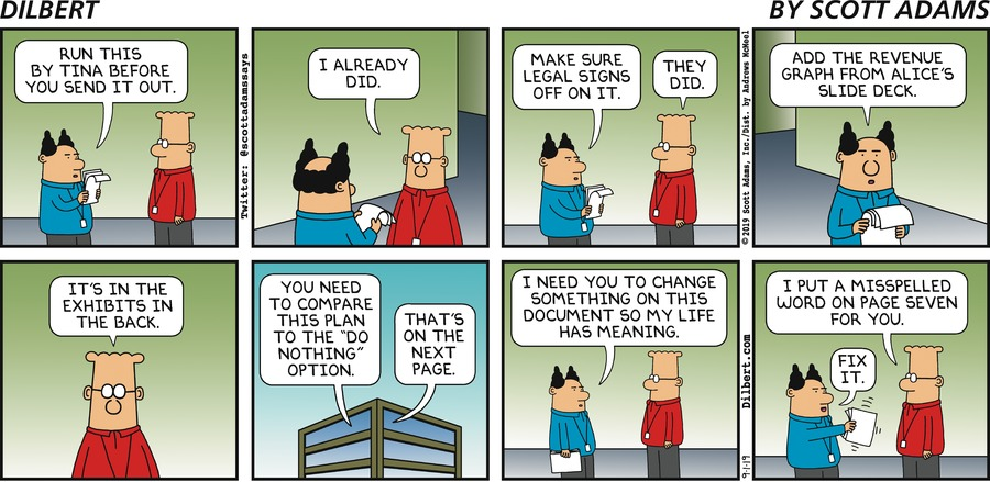 Boss Makes Document Suggestions - Dilbert by Scott Adams