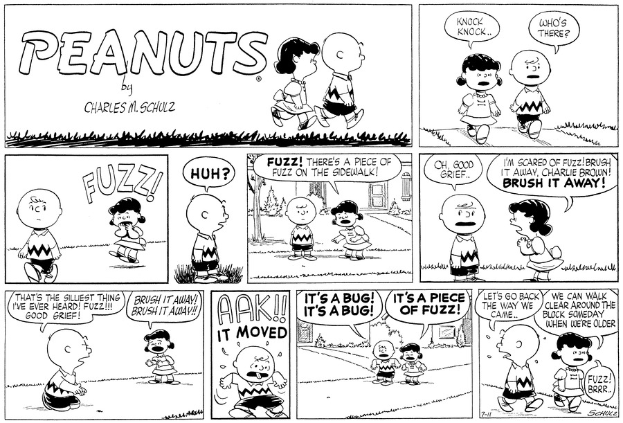 Lucy: Knock Knock.. Charlie Brown: Who's there? Lucy: FUZZ! Charlie Brown: HUH? Lucy: Fuzz! There's a piece of fuzz on the sidewalk! Charlie Brown: Oh, Good Grief.. Lucy: I'm scared of fuzz! brush it away, Charlie Brown! BRUSH IT AWAY! Charlie Brown: That's the silliest thing I've ever heard! Fuzz!!! Good Grief! Lucy: Brush it away! Brush it away!! Charlie Brown: AAK!! IT MOVED Charlie Brown: IT'S A BUG! IT'S A BUG! Lucy: IT'S A PIECE OF FUZZ! Charlie Brown: Let's go back the way we came.. Lucy: We can walk clear around the block someday when we're older Lucy: Fuzz! BRRR..