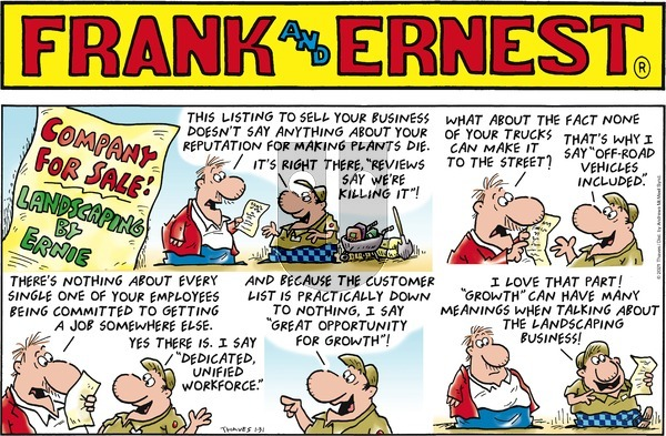 Frank and Ernest on Sunday January 31, 2021 Comic Strip