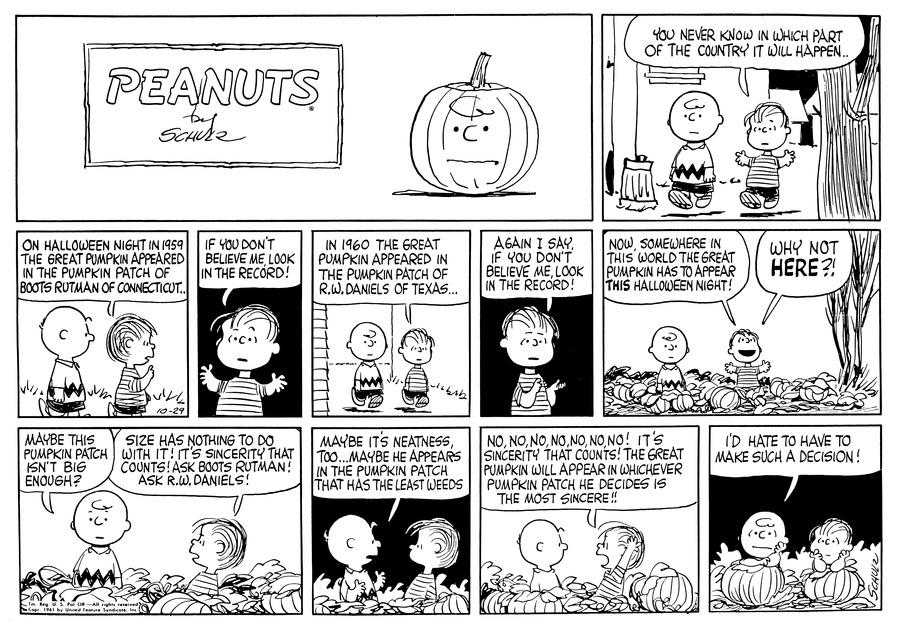 Peanuts Comic Strip for October 29, 1961