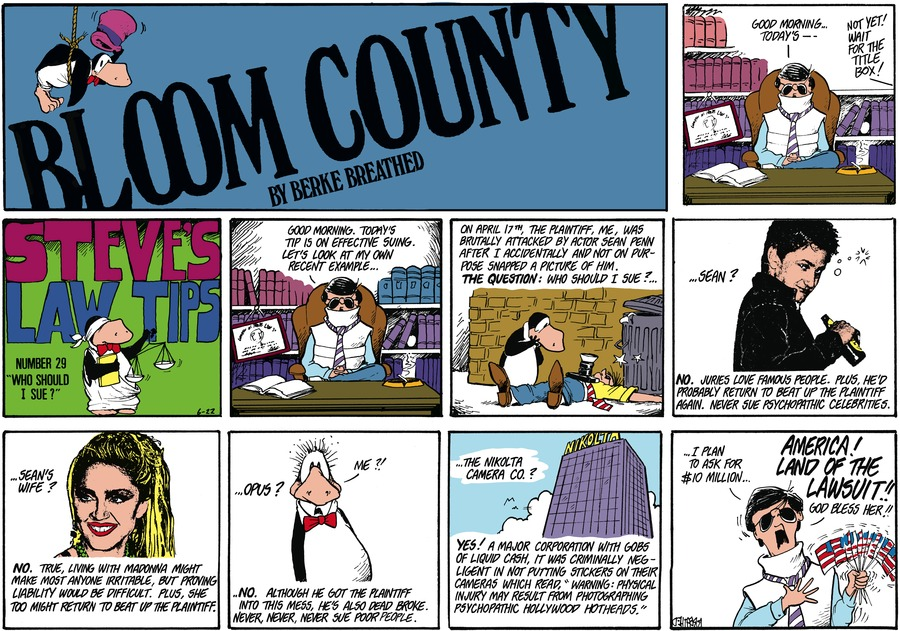 Bloom County Comic Strip for June 22, 1986
