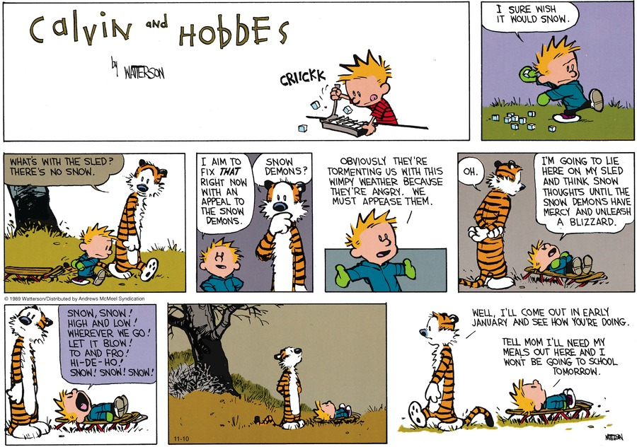 Calvin and Hobbes Comic Strip for November 10, 2019