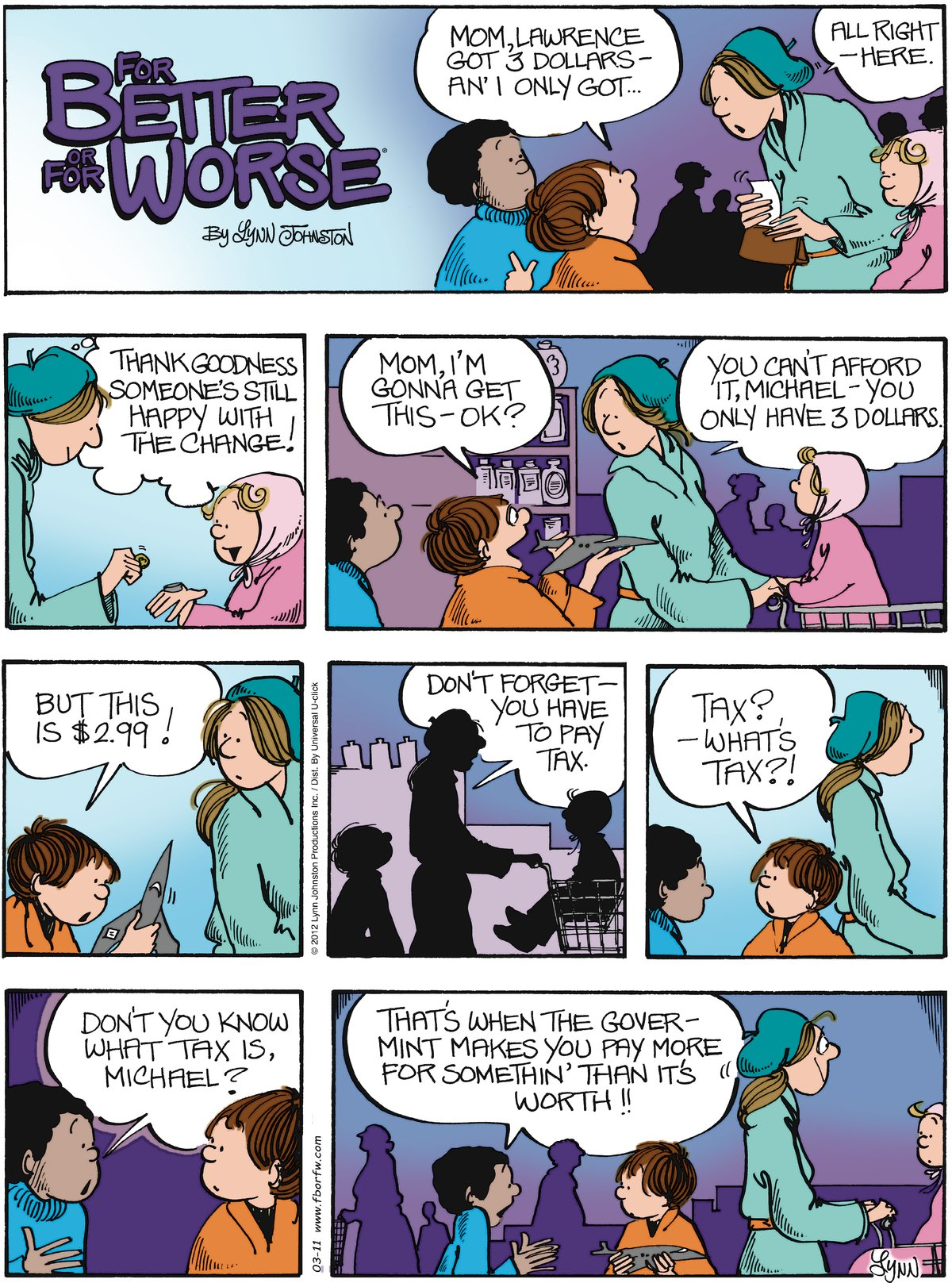For Better or For Worse Comic Strip for March 11, 2012