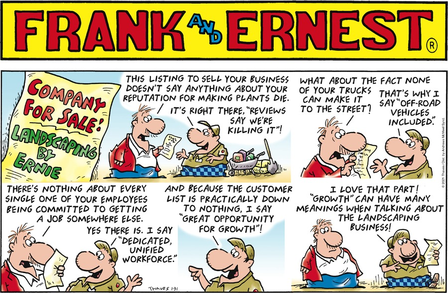 Frank and Ernest Comic Strip for January 31, 2021