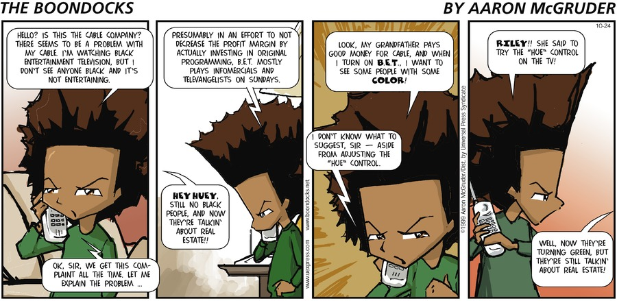 The Boondocks Comic Strip for October 24, 1999