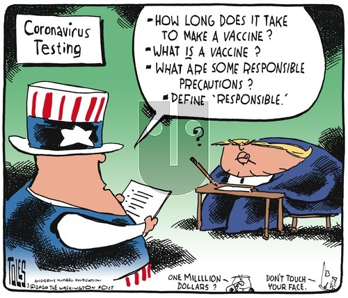 Tom Toles on Sunday March 8, 2020 Comic Strip