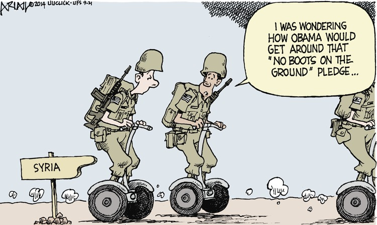 "I was wondering how Obama would get around that ""no boots on the ground"" pledge."
