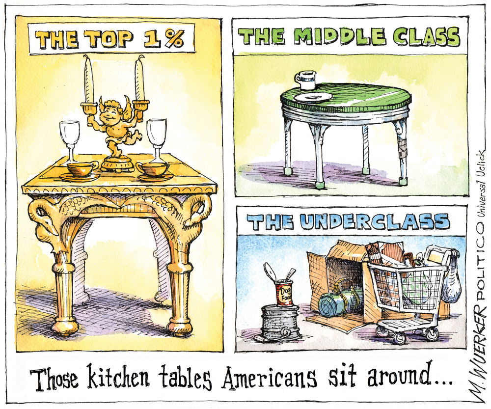 Those kitchen tables Americans sit around... the top 1%, the middle class, the underclass.