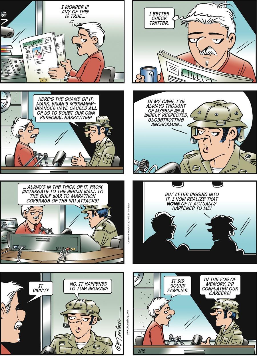 Doonesbury Comic Strip for March 15, 2015