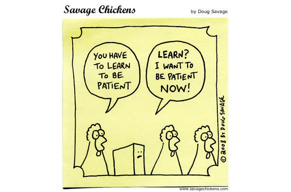 Chicken 1: You have to learn to be patient Timmy: Learn? I want to be patient now!