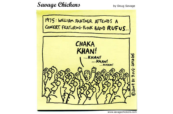 1975: William Shatner attends a concert featuring funk band Rufus...