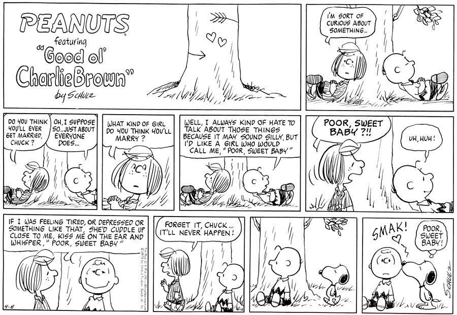 Peanuts Comic Strip for April 08, 1973