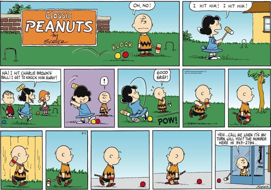 Peanuts for Aug 12, 2012 Comic Strip