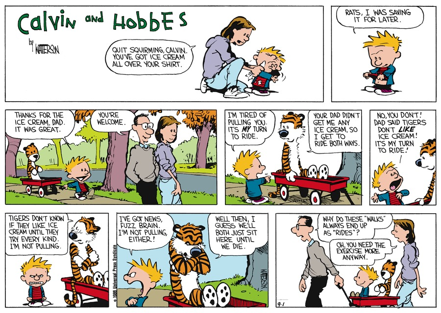 Calvin and Hobbes Comic Strip for September 28, 1986