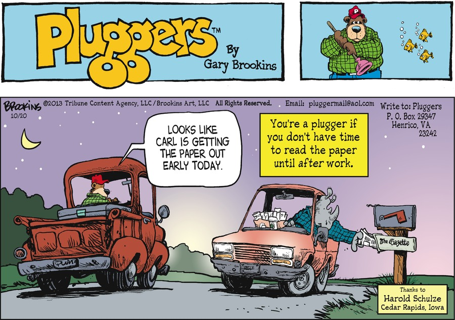 Pluggers for Oct 20, 2013 Comic Strip