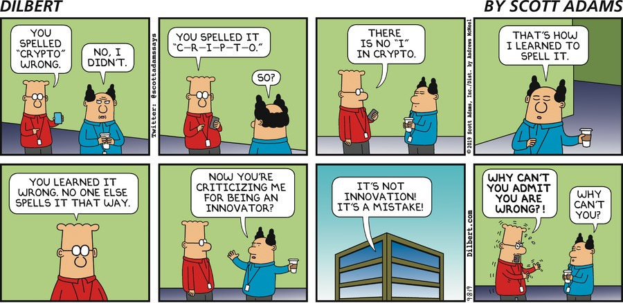 Spelling Crypto Wrong - Dilbert by Scott Adams