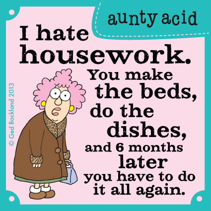 I hate housework. You make the beds, do the dishes, and 6 months later you have to do it all again.