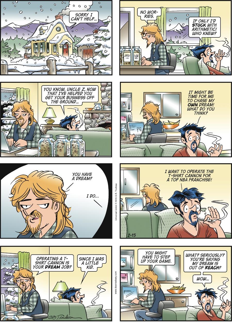 Doonesbury Comic Strip for February 15, 2015