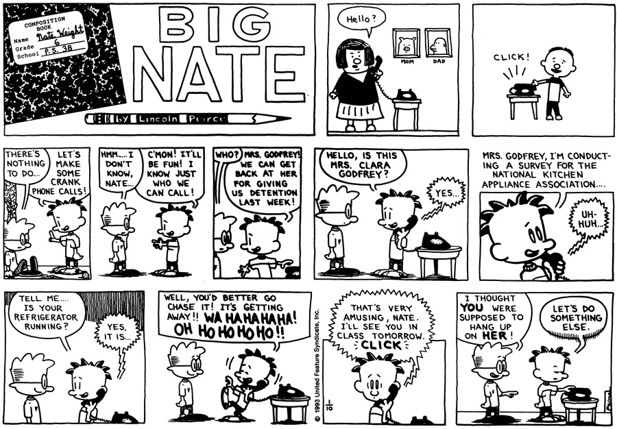 Big Nate Comic Strip for January 10, 1993