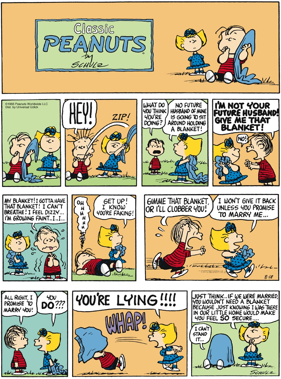 Peanuts Comic Strip for August 18, 2013