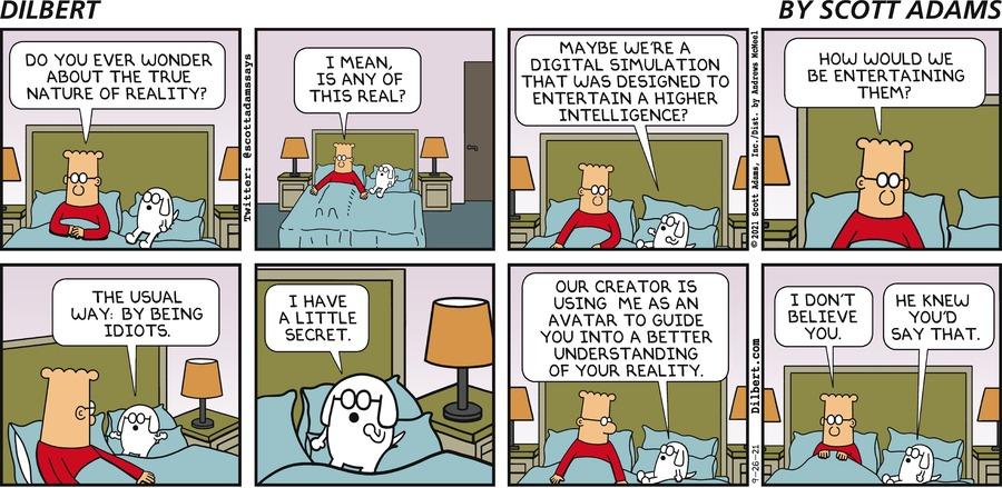 Sunday True Nature Of Reality - Dilbert by Scott Adams